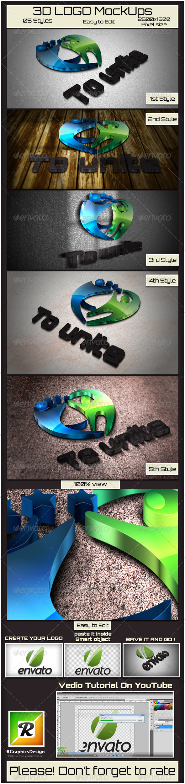 GraphicRiver 3D Logo Mockups 4012881
