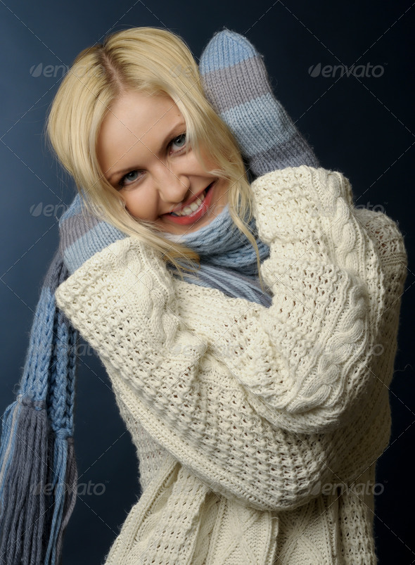 blonde girl in winter clothes - Stock Photo - Images