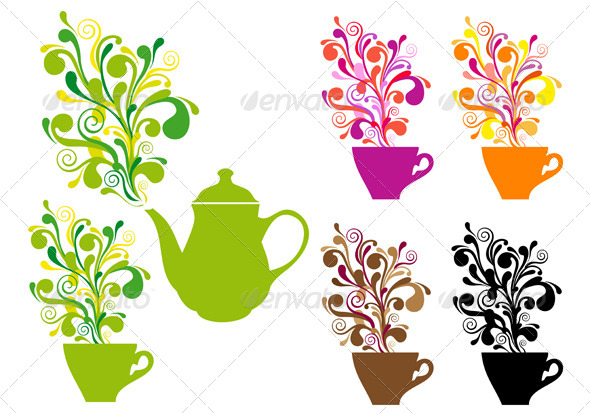 GraphicRiver Coffee And Tea With Color Swirls 4140894