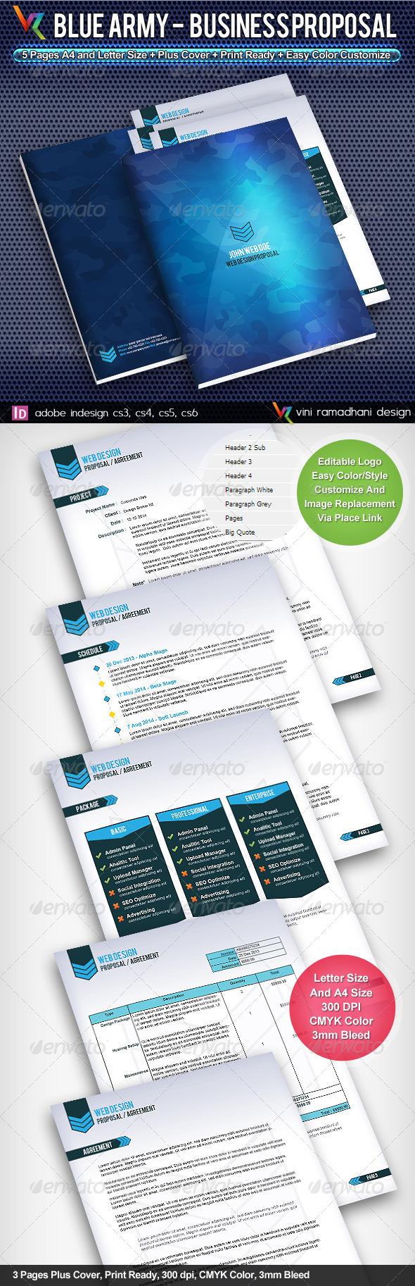 GraphicRiver Blue Army Business Proposal 4141230