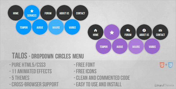 CodeCanyon Talos Dropdown Circles Menu 4141246