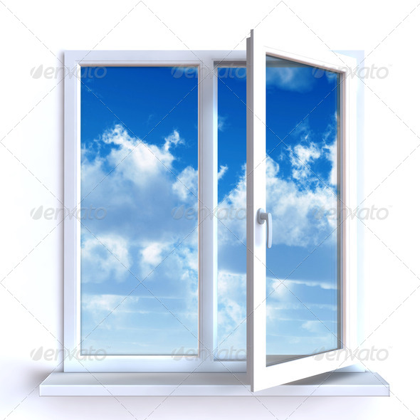 PhotoDune Open window against a white wall and the cloudy sky and sun 4141366