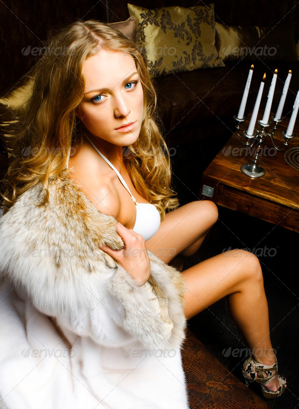 Woman in furs - Stock Photo - Images