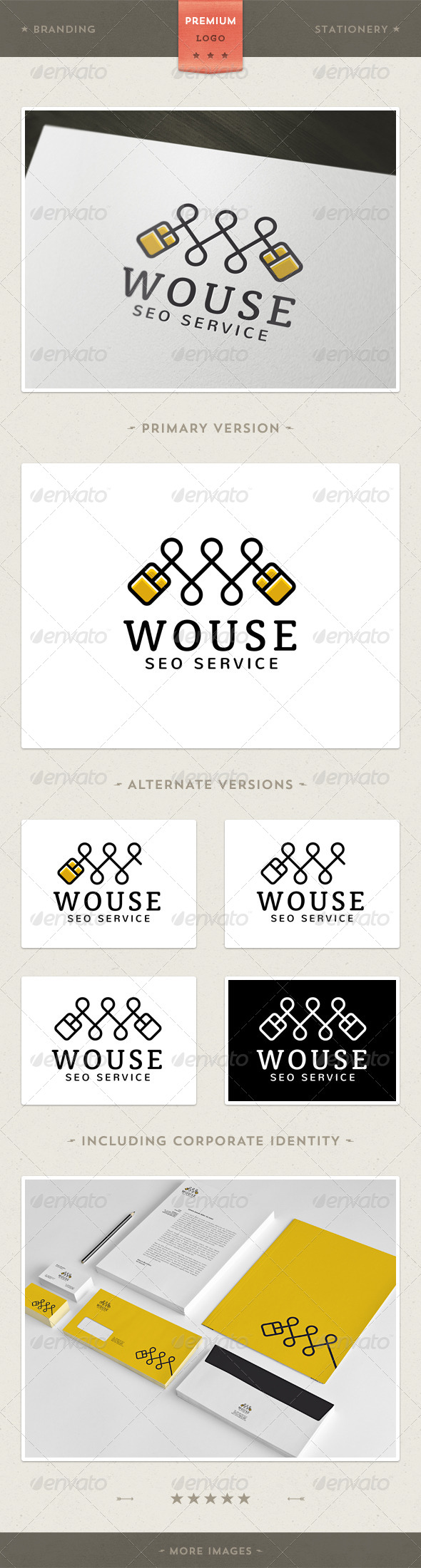 GraphicRiver Wouse Mouse and W Letter Logo Template 3918289