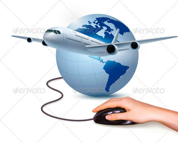 GraphicRiver Airplane and Hand with Mouse 4143057