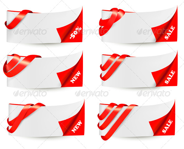 GraphicRiver Red Sale Banners with Red Ribbons 4143130