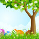 Green Tree Background with Easter Eggs - GraphicRiver Item for Sale