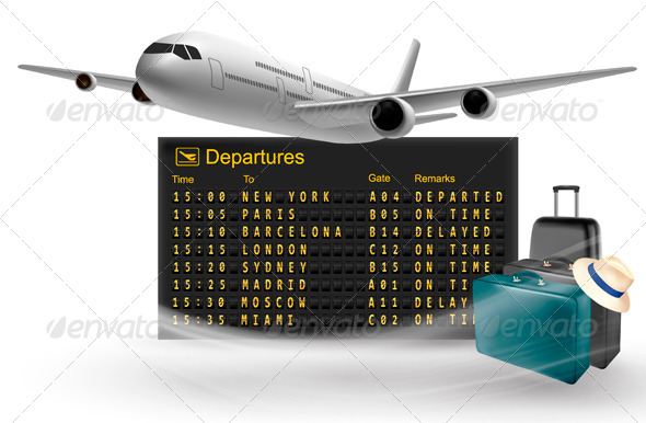 GraphicRiver Travel Background with Mechanical Departures Board 4143274