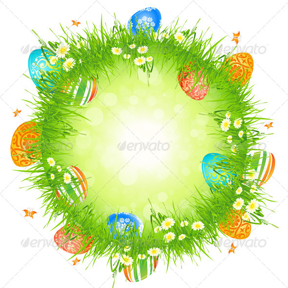 GraphicRiver Easter Eggs in the Grass 4143303