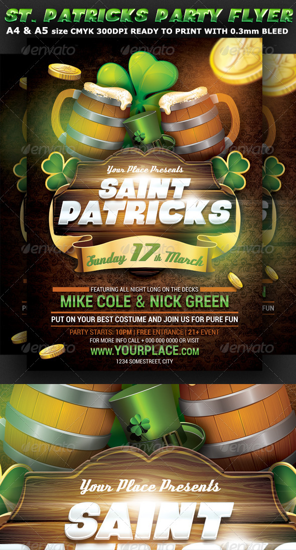 Saint Patricks Party Flyer Template - Clubs & Parties Events