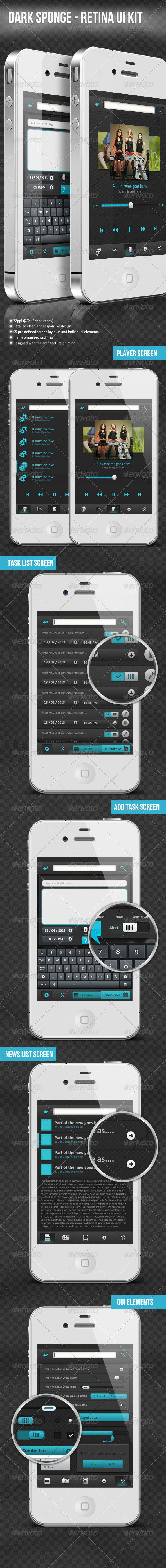 GraphicRiver Dark Sponge Retina Ui Kit 4065655