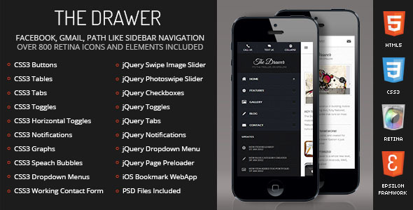 Drawer Mobile Retina | HTML5 & CSS3 And iWebApp - Mobile Site Templates