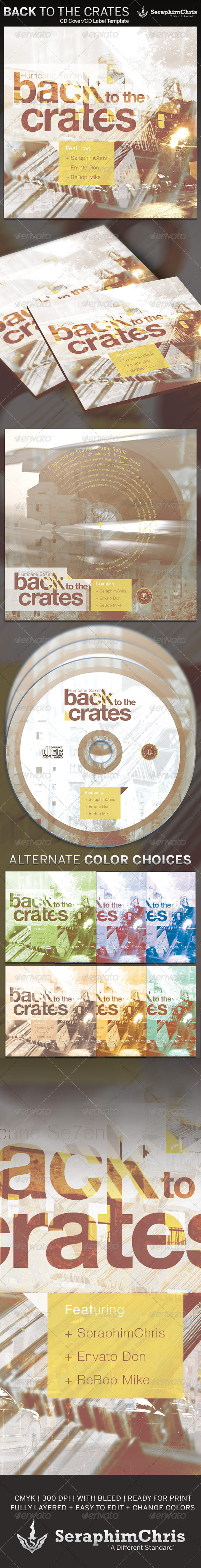 Back to the Crates: CD Cover Artwork Template - CD & DVD artwork Print Templates