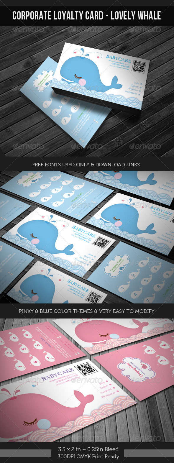 GraphicRiver Corporate Loyalty Card Lovely Whale 4144422