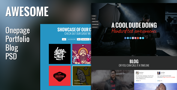ThemeForest Awesome PSD Template Onepage Portfolio & Blog 4145108