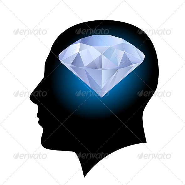 GraphicRiver Man s Head and Diamond 4145664