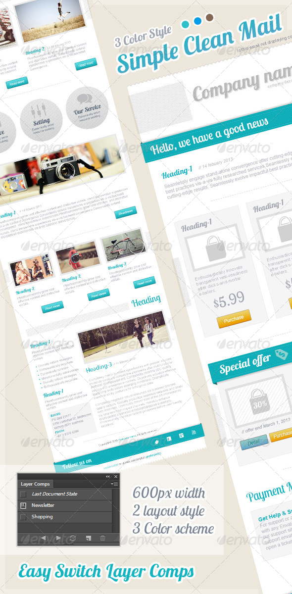 Simple Clean Mail - E-newsletters Web Elements