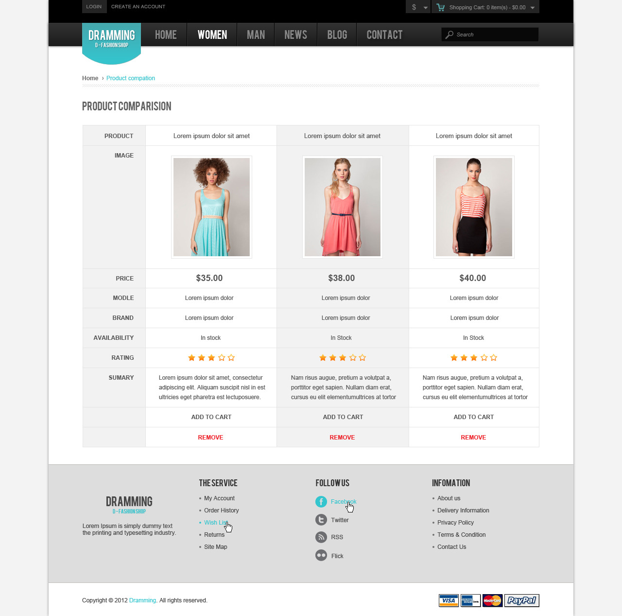 Dramming - Pleasant ecommerce site template.