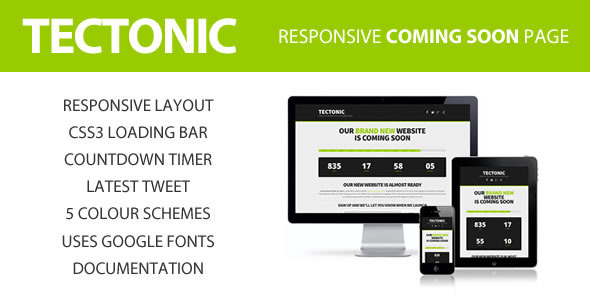 ThemeForest Tectonic Responsive Coming Soon Page 4142290