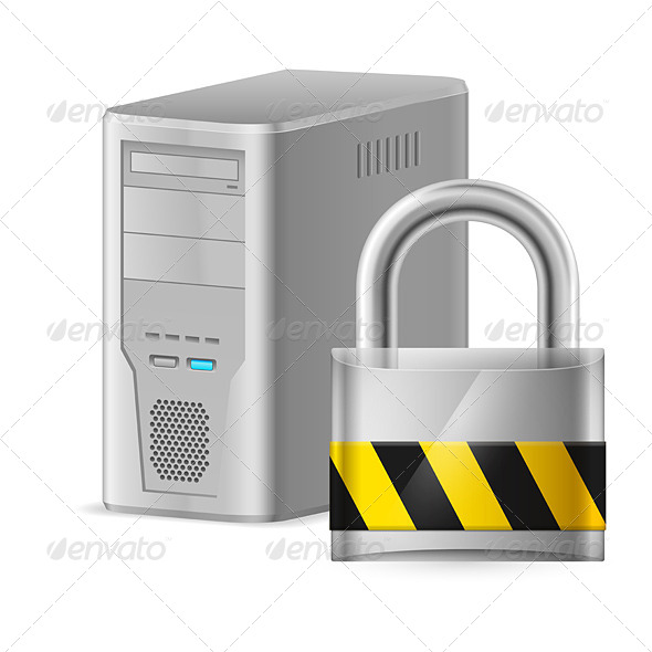 GraphicRiver Padlock and Case of Computer 4148546