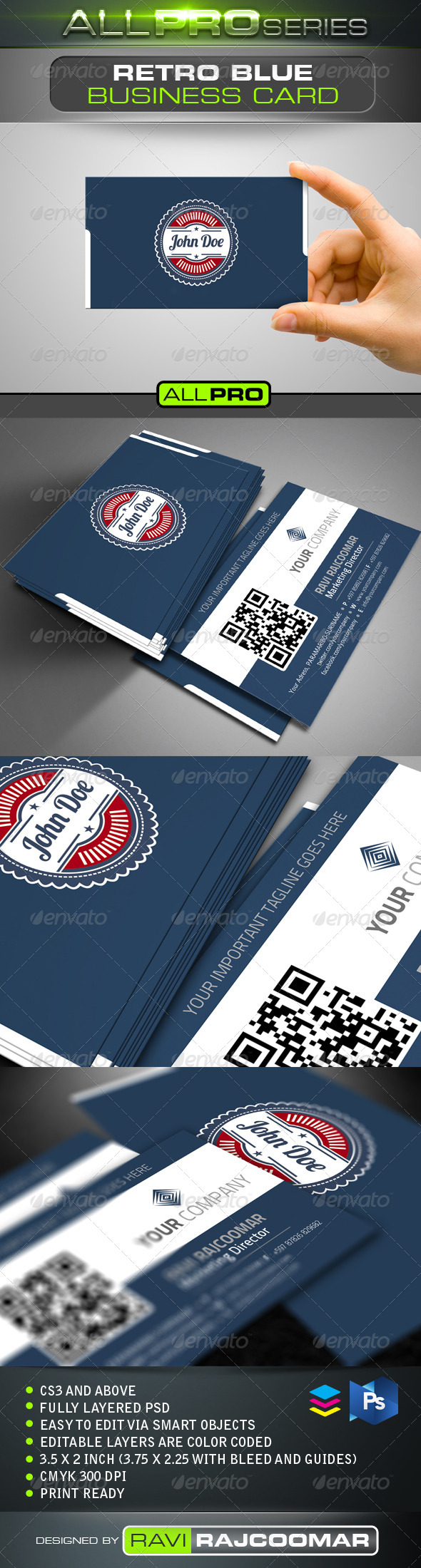 GraphicRiver Retro Blue Business Card 4148559