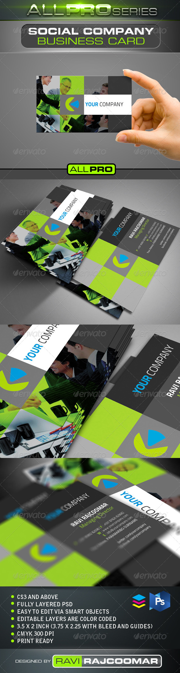 GraphicRiver Social Company Business Card 4148601