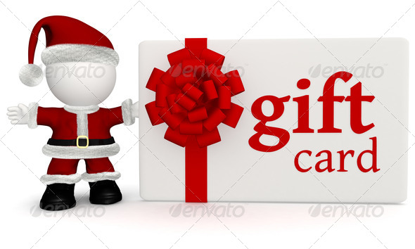 Santa with a gift card - Stock Photo - Images