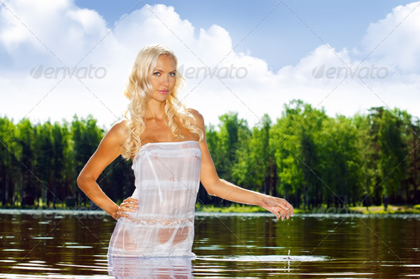 Woman in the water - Stock Photo - Images