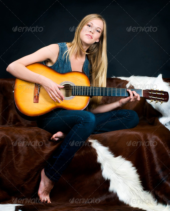 Beautiful musican - Stock Photo - Images