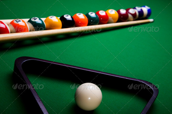 PhotoDune Billiard table and balls 4166148