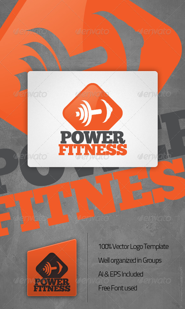 Power Fitness Gym Logo Template - Symbols Logo Templates