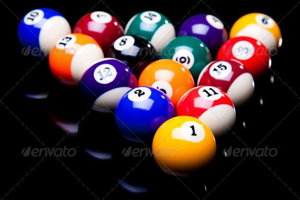 PhotoDune Billiard balls isolate on black 4166106