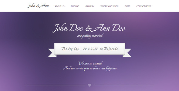WeeDay One Page with Timeline Wedding Template