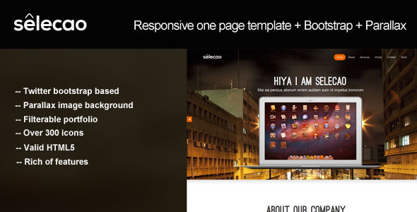 Selecao - bootstrap parallax one page template