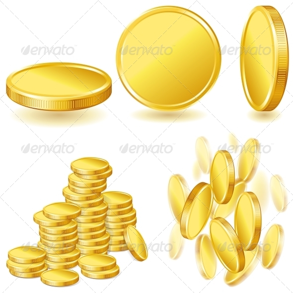 GraphicRiver Collection of Gold Coins 4151892