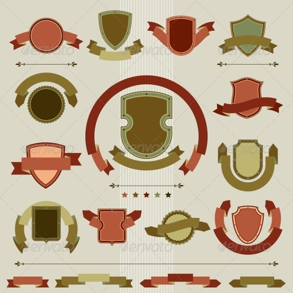 GraphicRiver Vintage Heraldry Shields Retro Style Set 4151897