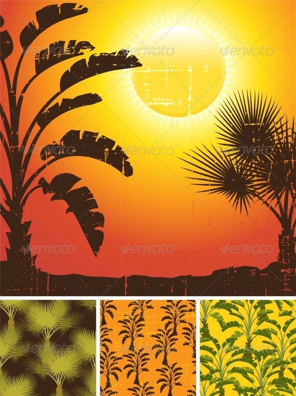 GraphicRiver Tropical Palm on Sea Background and Patterns 4152151