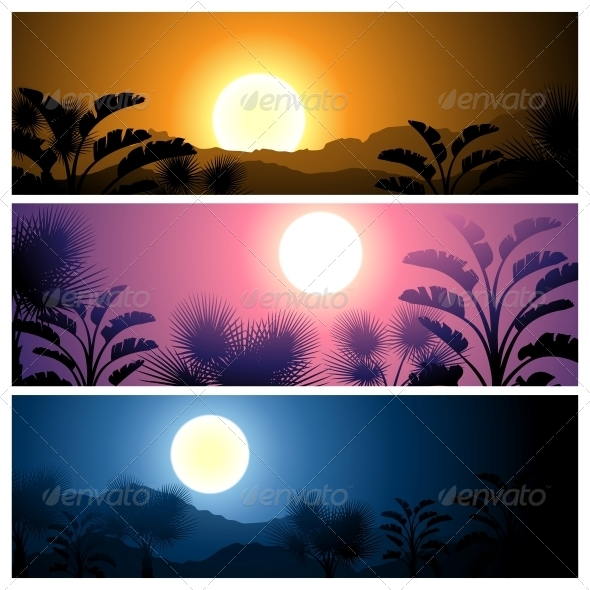 Tropical Banners Set Landscape