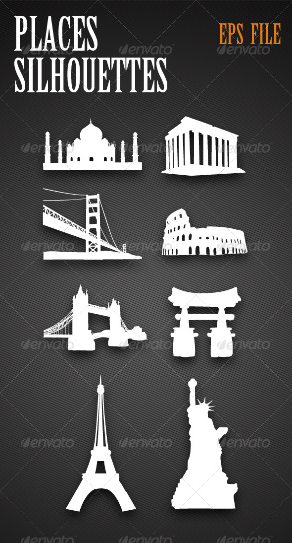 GraphicRiver Monuments Silhouettes 4153231