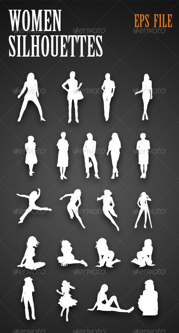 GraphicRiver Women Silhouettes 4153254