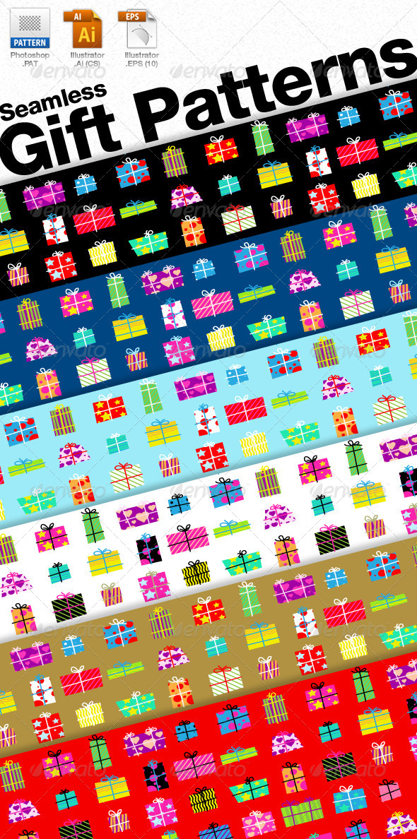 GraphicRiver Seamless Gift Patterns 4153471
