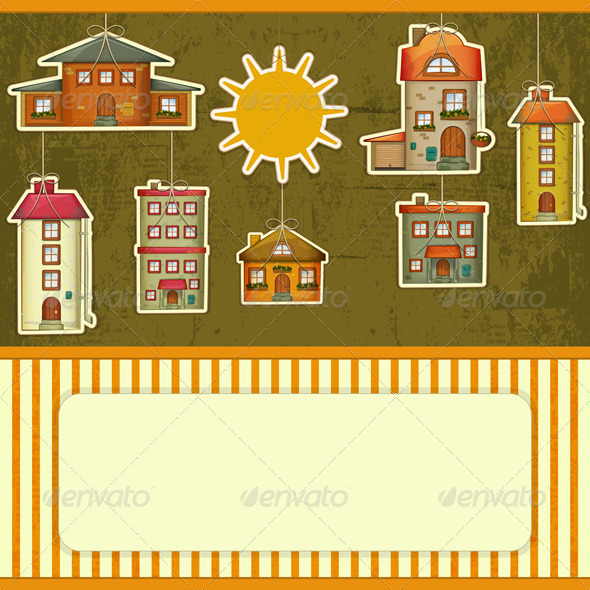 Set of Houses Retro Card