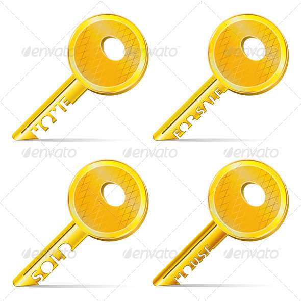 GraphicRiver Set of Gold Keys 4154018