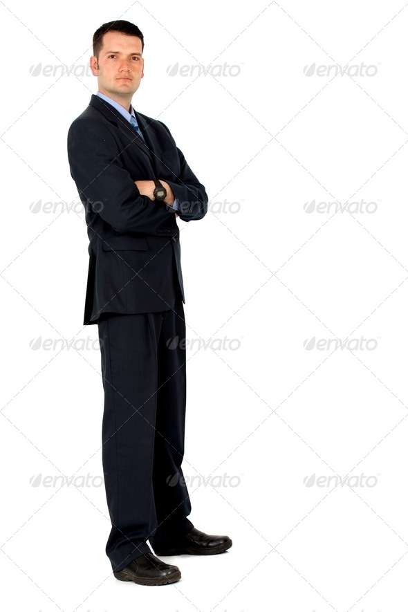 confident business man - full body portrait - Stock Photo - Images