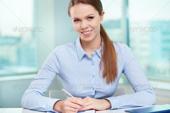 Businesswoman at workplace - Stock Photo - Images