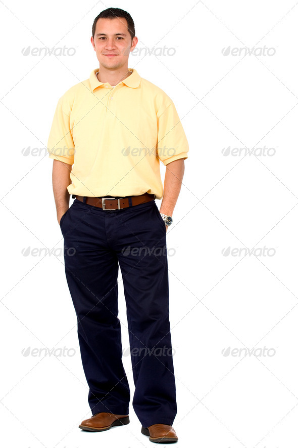 Casual man standing on white - Stock Photo - Images