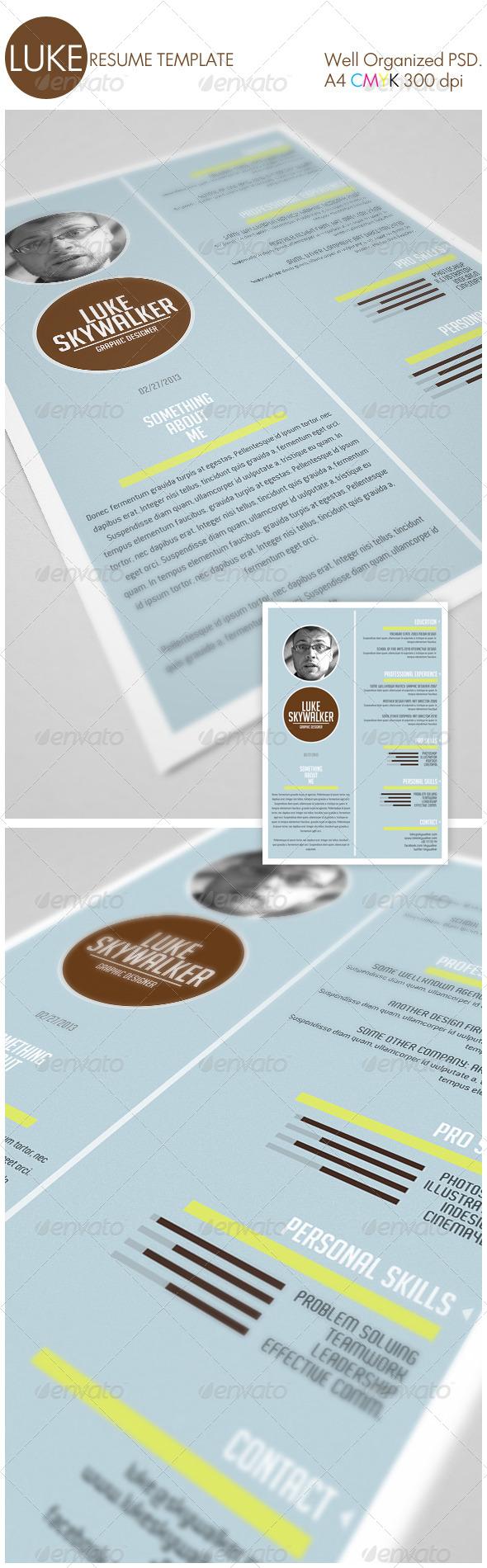 GraphicRiver Luke Resume Template 4155560