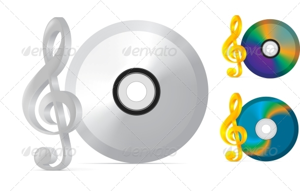 GraphicRiver Compact Disc with Treble Clef 4155894