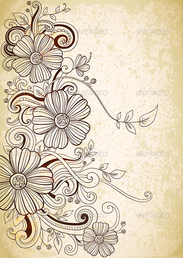 GraphicRiver Hand Drawn Floral Background 4156419