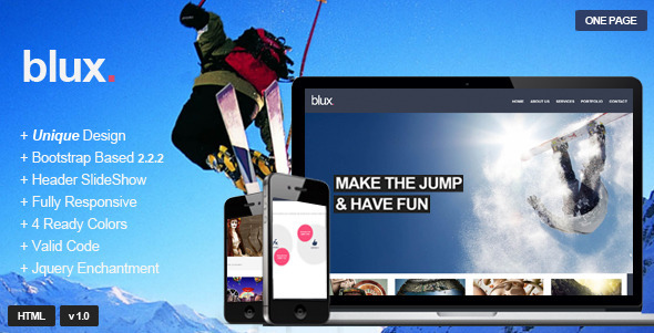 ThemeForest Blux Responsive One Page Theme 4150796